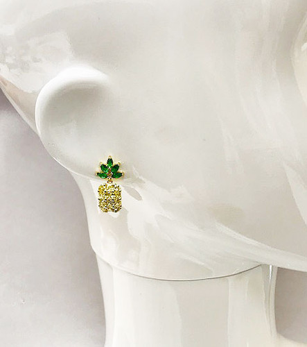Cubic Zirconia Sweet Pineapple Earrings