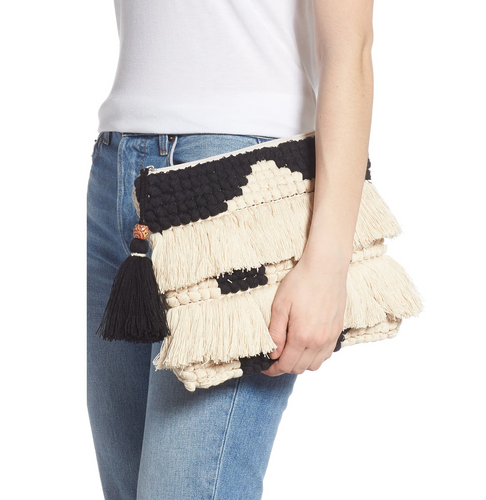 Black & White Double Fringe Nubby Knit Zipper Clutch
