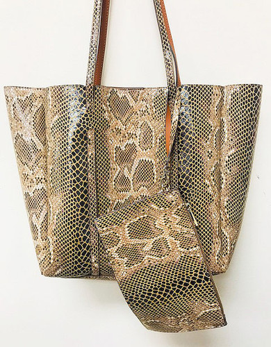 Sondra Roberts Embossed Faux Python Tote