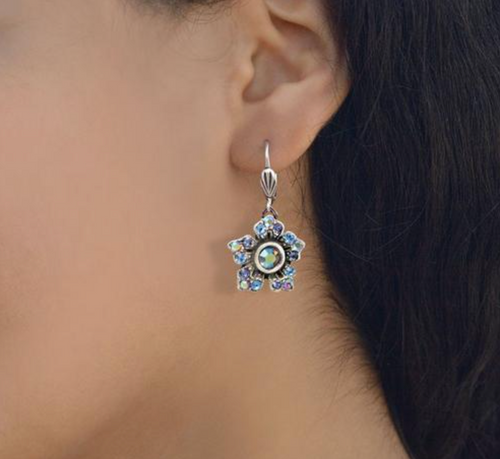 Antiqued Silver Star Flower Earring