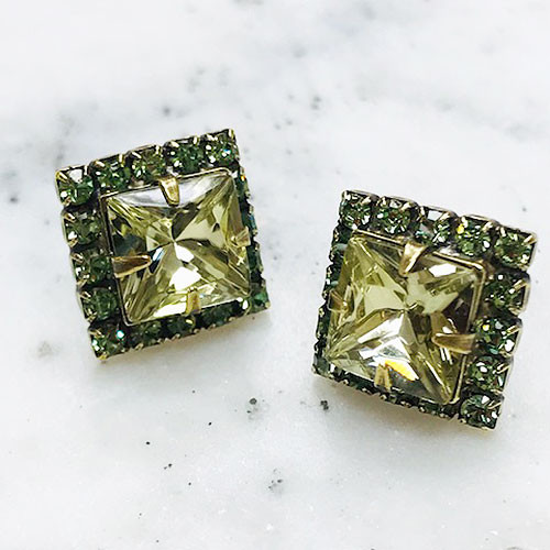Sorrelli Square Cut Jonquil and Erinite Crystal Post Earring
