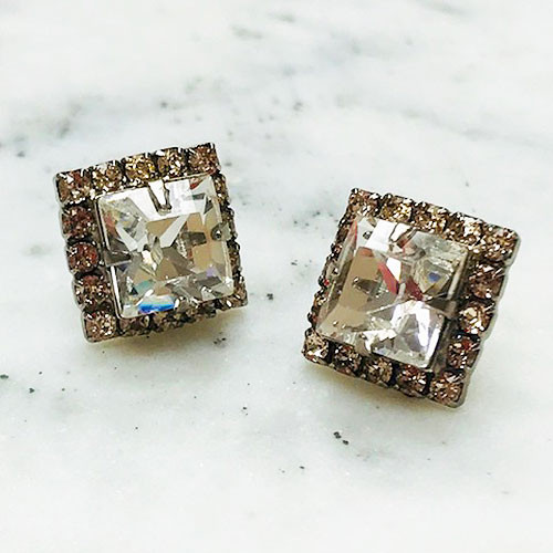 Sorrelli Square Cut Clear and Soft Pink Crystal Post Earring
