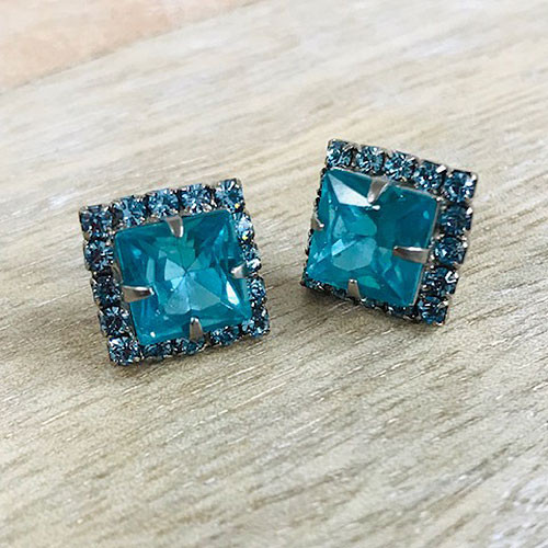 Sorrelli Square Cut Blue Zircon Crystal Post Earring