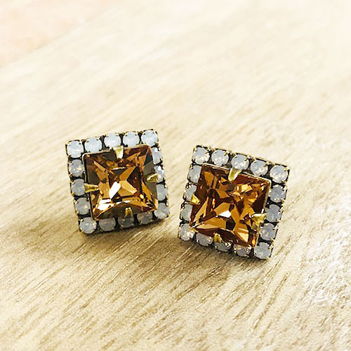 Sorrelli Square Cut Light Colorado TopazCrystal Post Earring
