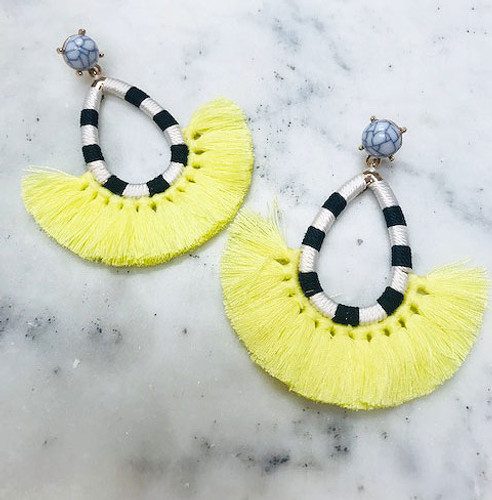 Yellow Tassel/Striped Hoop Earring