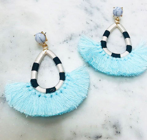 Blue Tassel/Striped Hoop Earring