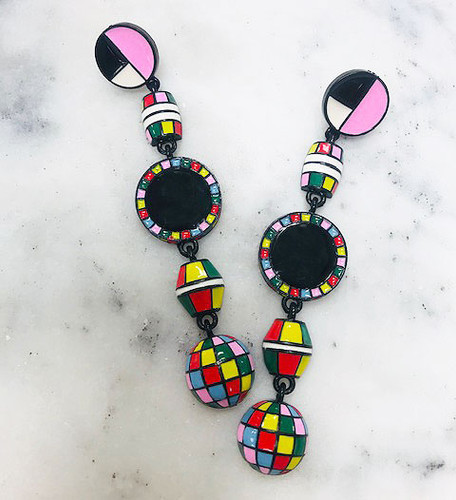 Long Multicolored Retro Bead Dangle Earrings