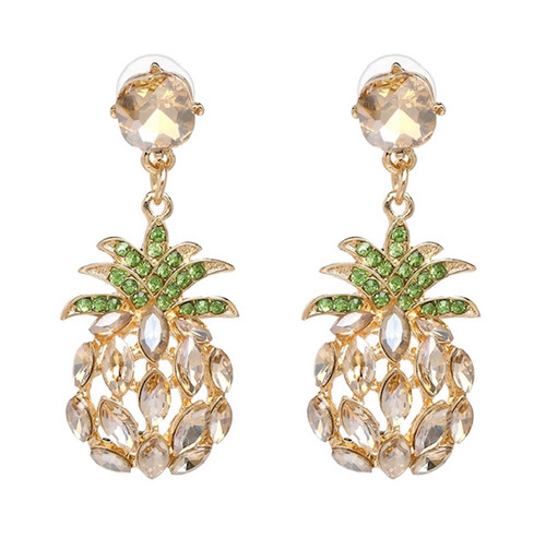 Emerald & Clear Crystal Pineapple Statement Earrings