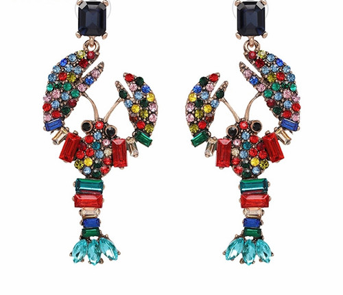 Multi Crystal Lobster Statement Earring