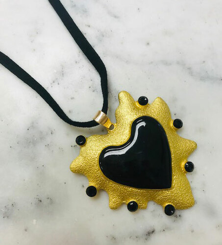 """My Giant Black Heart"" Artisan Necklace"