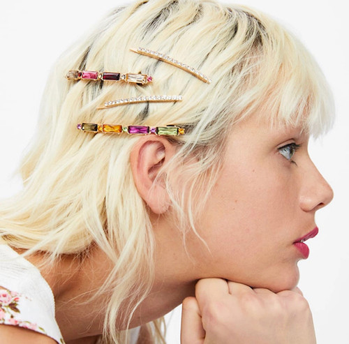 Four Crystal Snap Lock Hair Clip