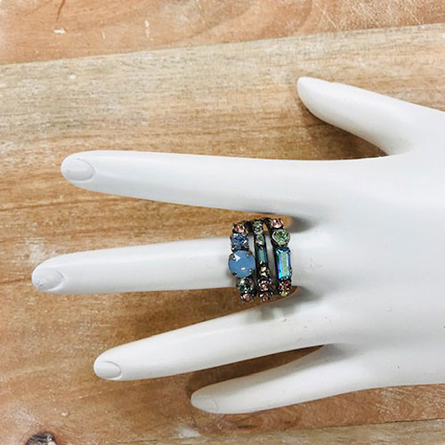 "Sorrelli ""Preppy in Pastels"" Trip Crystal Band Ring"