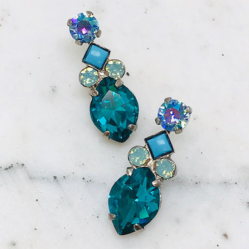 Sorrelli Blue Zircon and mint Crystal Earrings