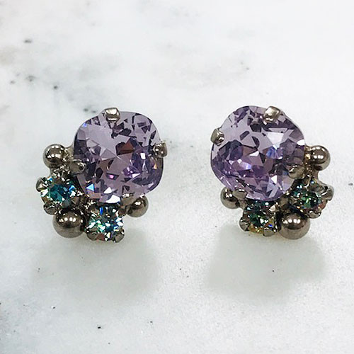 Sorrelli Cushion Cut Lilac Crystal Earring