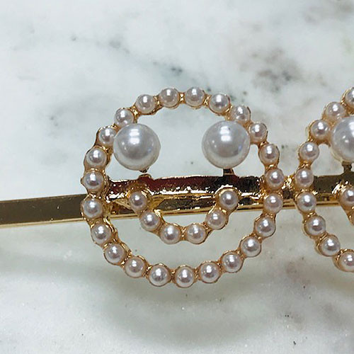 Pearl Smiley Emoji Hair Bobby Pin