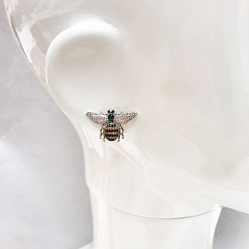 Cubic Zirconia Bee Post Earring