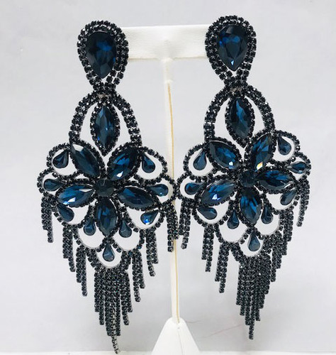 Large Montana Blue & Jet Black Chandelier Earrings