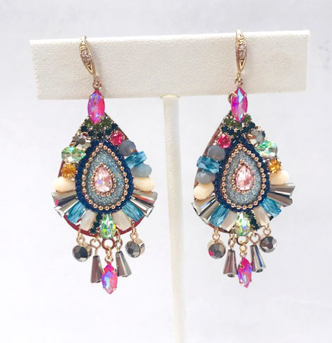 Multi-Colored Crystal Jubilee Teardrop Earring