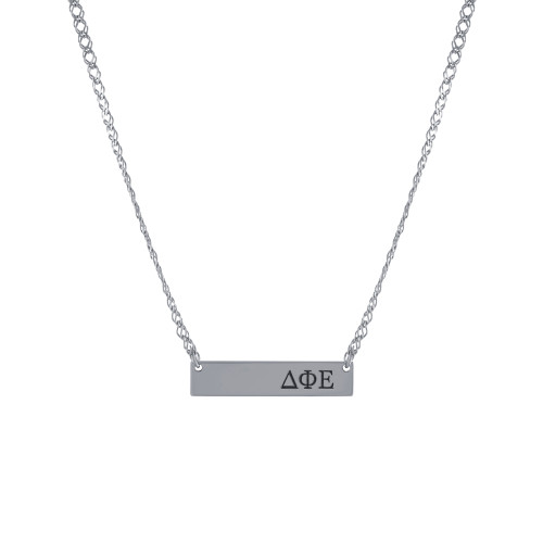 Sorority Letters & Symbols Etched Bar Necklace