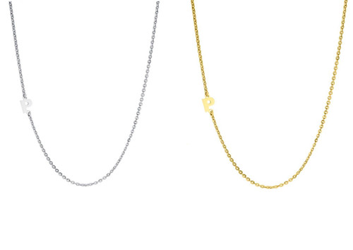 Sterling Silver or Gold Vermeil Sideways Initial Necklace