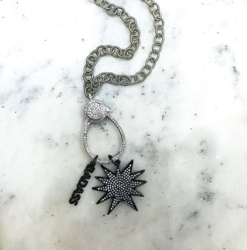 Gunmetal with Clear Cubic Zirconia Starburst Charm