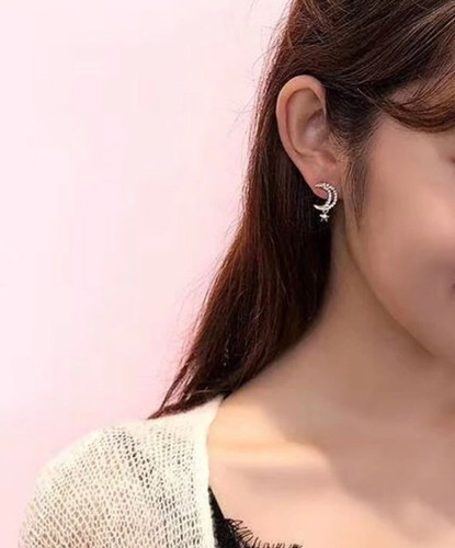 Xenon Pave Moon/Star Stud Earring