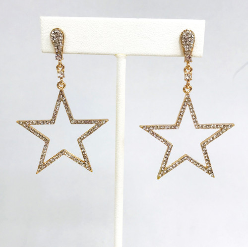 Star Outline Dangle Earrings