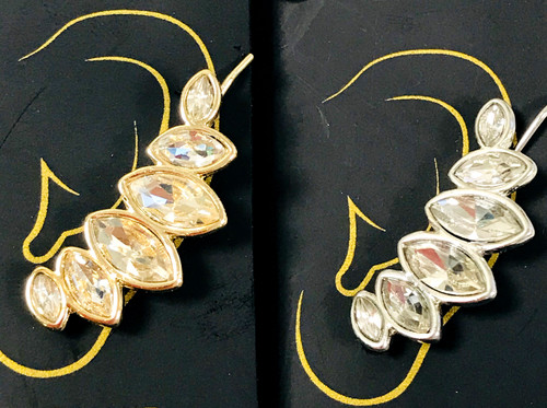 Crystal Petal Ear Crawler Earrings