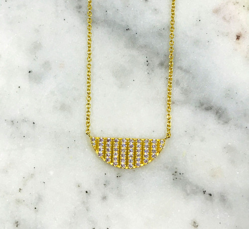 Gold Vermeil Cubic Zirconia Semi-Circle Necklace