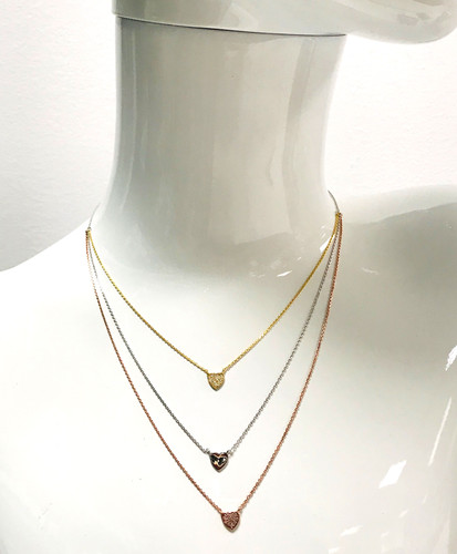 Tri-Colored Layered Heart Necklace