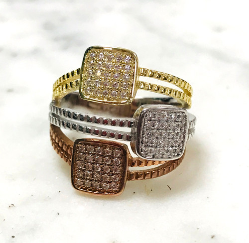 Sterling Silver Tri-Colored Pave Square Ring