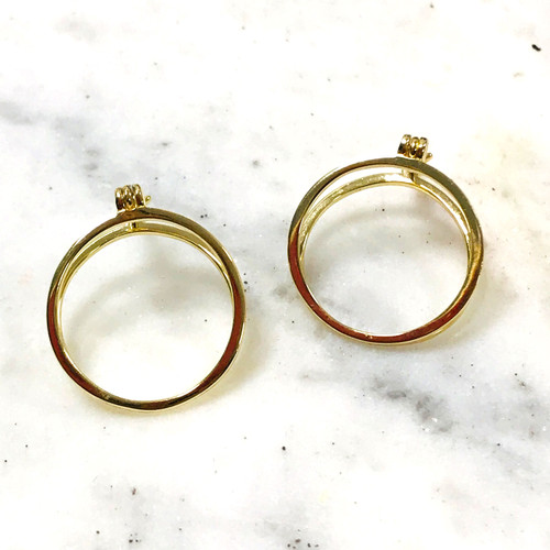 Gold Vermeil Double Ring Hoop Earring
