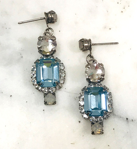 Sorrelli Antiqued Silver Light Sapphire Dangle Earring