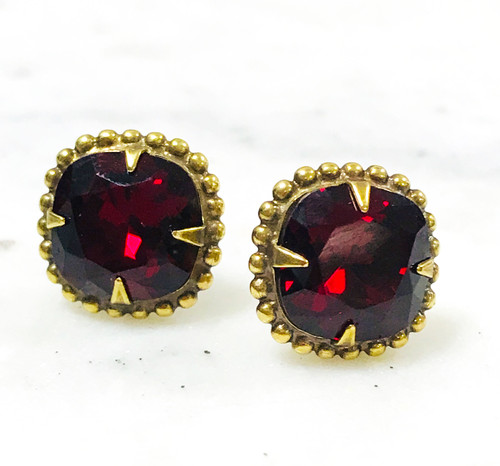 Sorrelli Ruby Red Cushion Cut Crystal/Ant.Gold Earrings