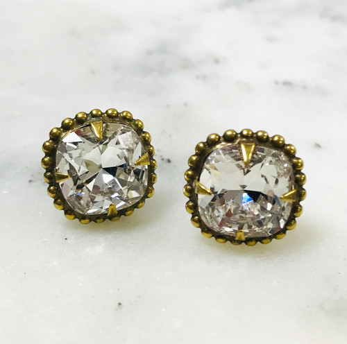 Sorrelli Clear Cushion Cut/Ant.Gold Crystal Earrings