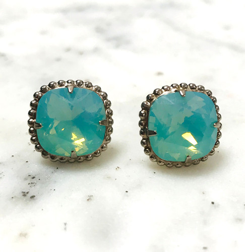 Sorrelli Pacific Opal/Ant.Silver Cushion Cut Post Earrings