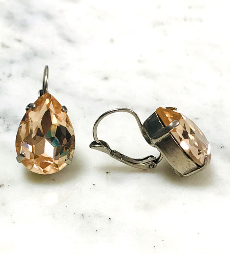 Sorrelli Champagne Pear Crystal Euro Wire Earring