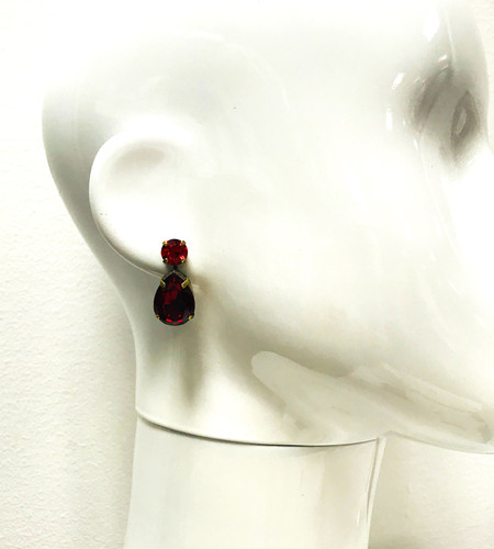 Sorrelli Brilliant Red Tear Drop Post Crystal Earring