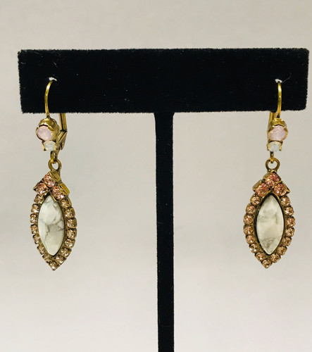 Sorrelli Howlite Stone with Pink Crystal Euro Wire Earring