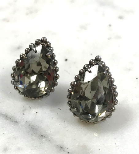 Sorrelli Black Diamond Pear Cut Stud Earring