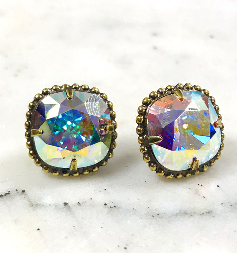 Sorrelli Aurora Borealis/Ant.Gold Cushion Cut Post Earrings
