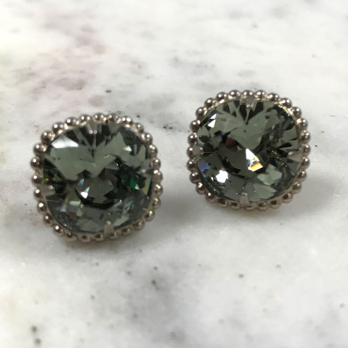 Sorrelli Black Diamond Cushion Cut Crystal/Ant. Silver Post Earrings