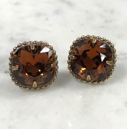 Sorrelli Smokey Topaz Cushion Cut/Ant.Gold Crystal Earrings