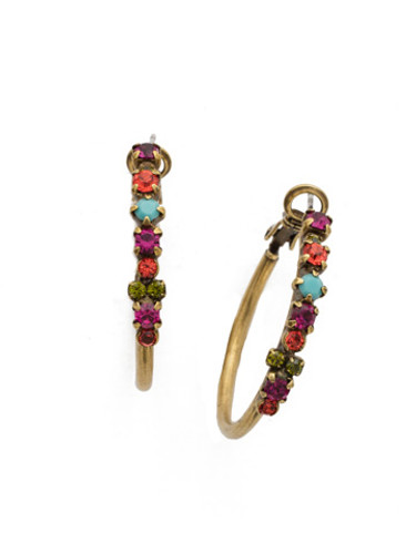 Sorrelli Kaleidoscope Bright Crystal Hoop Earrings