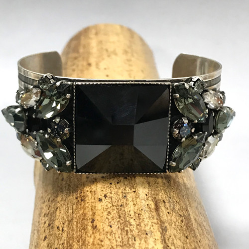 Frangos Jet & Black Diamond Crystal Cuff
