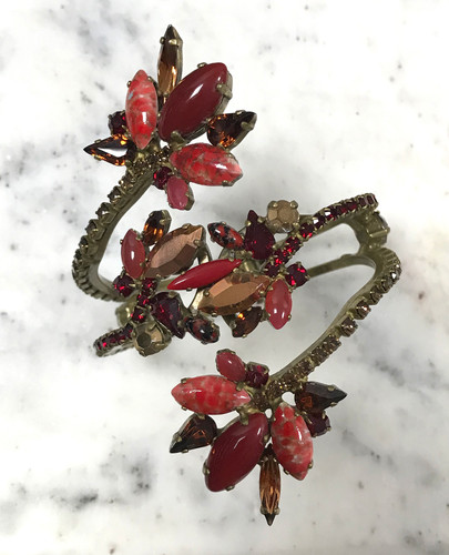 Frangos Red & Copper Winter Vine Swarovski Cuff
