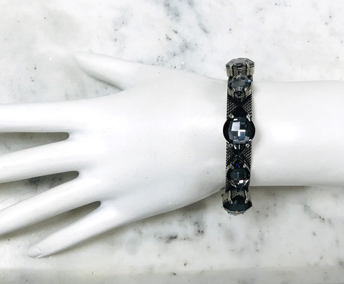 Frangos Black Diamond Crystals on Flexi-Mesh Bracelet