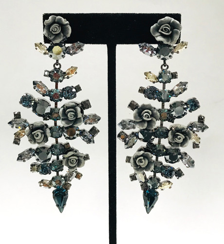 Frangos Swarovski Crystals & Ceramic Flowers Statement Earrings