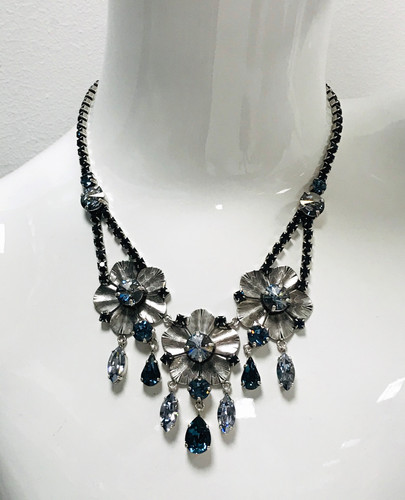 Frangos Blue Montana Swarovski Crystal Flower Necklace