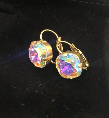 Sorrelli Aurora Borealis Antiqued Gold French Wire Earrings